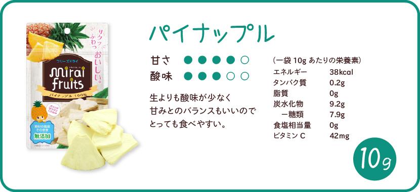 ミライフルーツ パイナップルの特徴
